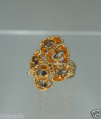 "Vintage Gold Plated Cluster Smoked Topaz Ring Signed ""park Lane"" Size 5 3/4"
