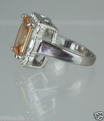 Vintage Ring Silver Plated,caramel Topaz,rhinestone,size 9