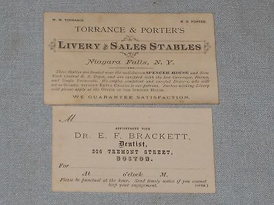 1870's 2 Business Trade Cards Torrance & Porter's Livery, Dr. Brackett Dentist