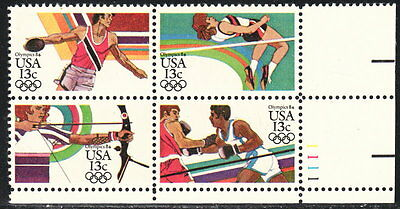 US #2048-2051 13¢ Summer Olympic Games LR Plate Block MNH