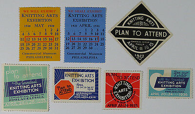 7 Poster Stamps Cinderellas Knitting Arts Exhibition 1930 - 1936 Philadelphia PA
