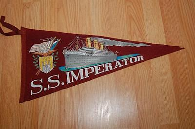 ANTIQUE RARE & ORIGINAL circa 1912 S.S. IMPERATOR CRUISE SHIP LARGE PENNANT