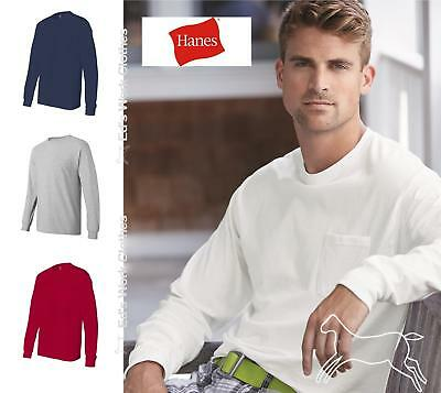 Hanes Mens Blank  Long Sleeve Cotton T Shirt with a Pocket 5596 Up to 3XL
