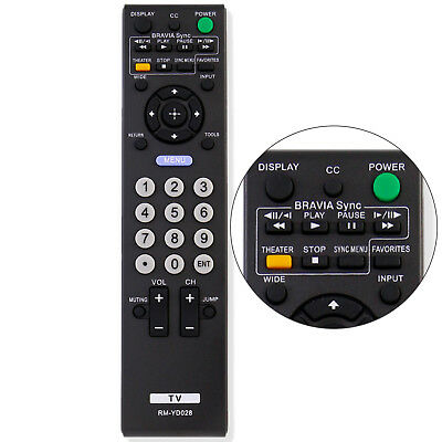 New Replacement RM-YD028 Remote for Sony Bravia KDL46S5100 KDL32XBR9 KDL32L5000