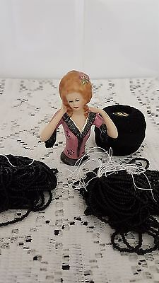 Porcelain Half Doll Clementine With Beads And Cotton