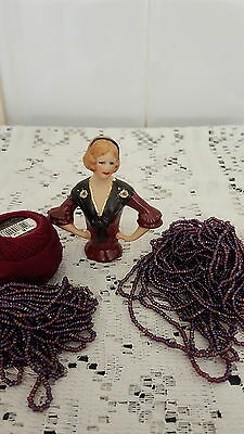 Porcelain Half Doll Sophie With Beads And Cotton