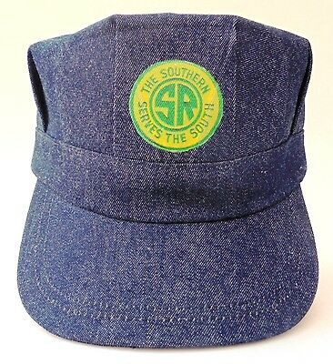 Engineer's railroad cap denim Made in USA Southern Railway logo adult size