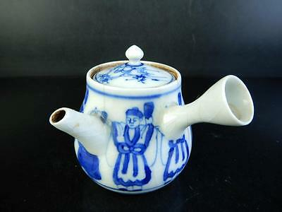 H1928: Japanese Old Kiyomizu-ware Blue&White Person pattern TEAPOT Kyusu Sencha