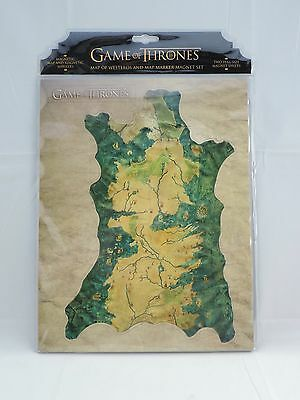 Game of Thrones Map of Westeros and Map Marker magnet set Nerd Block exclusive
