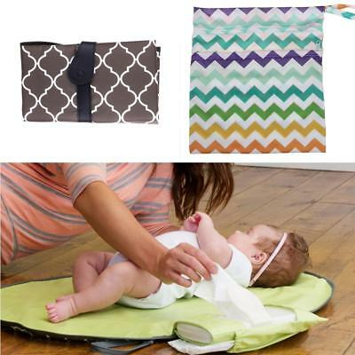 2pcs Baby Changing Mat Waterproof Portable Folding Travel Nappy Clutch Bags