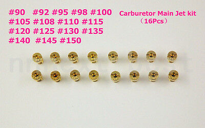 16pcs Carburetor Main Jet kit for PWK Keihin OKO CVK 90 92 95 98 115……140 150 AU
