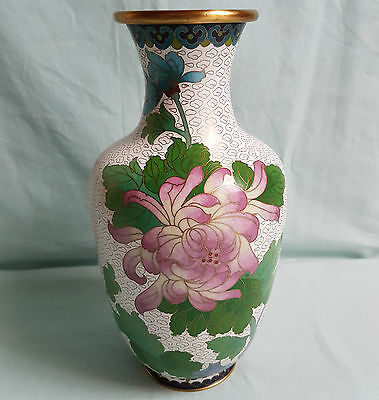 Alte chinesische Cloisonné-Vase, 26cm, Emailtechnik, China, 20. Jhd., Messing