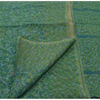 Sanskriti Antique Vintage 100% Pure Silk Saree Green Printed Sari Craft 5 Yard