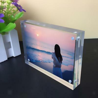 Double-faced Crystal Photo Frame Desk Set Acrylic Magnet Picture Frame 5inch