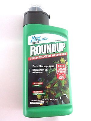 BRAND NEW ROUNDUP NEW FORMULA ULTRA SUPER CONCENTRATE WEEDKILLER  500mL