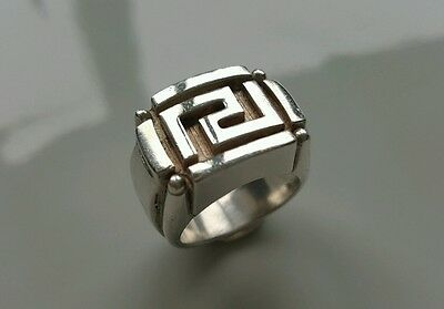 Versace Ring. 100% Authentic. Sterling Silver 925. Mens unique ring.