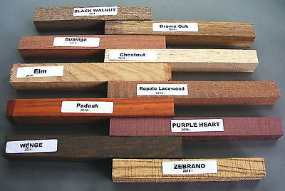 12 Pen Blanks for Woodturning - Purple Heart - Zebrano - Jatoba -Ovangkol +other