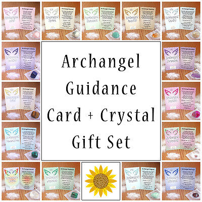 Archangel Guidance Card with Corresponding Crystal, Michael, Raphael, Metatron