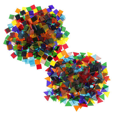 500x Colorful Triangle Square Clear Glass Pieces Mosaic Tiles Craft Tessera