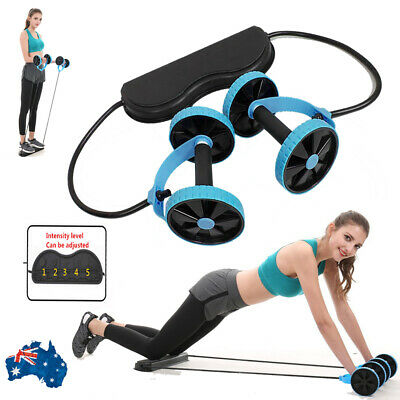 ABS Abdominal Exercise Double Wheels Ab Roller Gym Fitness Slimming Equipment AU