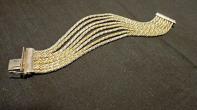 9Ct Gold And Sterling Silver Rope Multi Rope Chain Bracelet