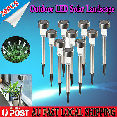 20X Stainless Steel White Solar Power LED Garden Outdoor Park Path Lighting Yard