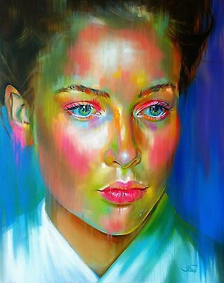 """Large Original Oil painting on canvas. Colourful portrait of a woman 30x24"""""""