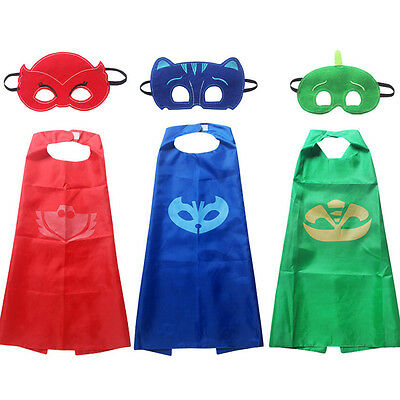 3 x SUPERHERO CAPE PJ MASKS KIDS HALLOWEEN FANCY DRESS CHARACTER COSTUME KIT