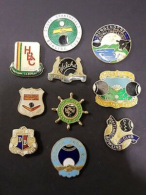 10× Collectable  Bowls Club Badges **BACKS REMOVED**