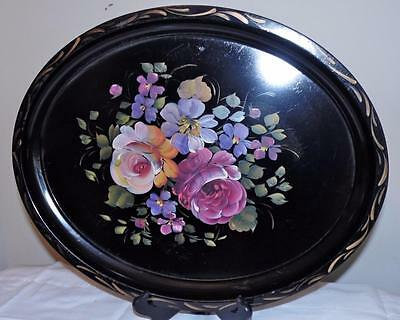 "Toleware Tray Hand Painted Flowers on Black Oval Platter 17.5"" x 14"" vtg"