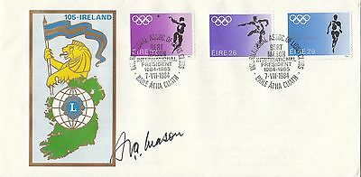 (03253) Ireland Cover Olympics Lions International SIGNED 7 July 1984