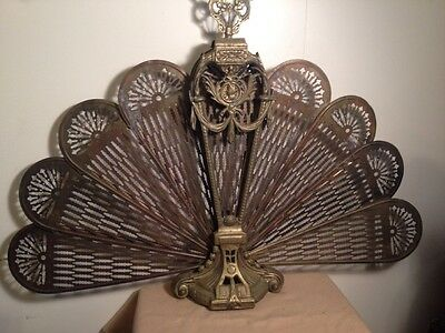 GTC Vintage Solid Brass Fireplace Fans face 38 Inch Wide 27 Inch Tall