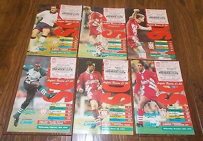 Job Lot x6 LIVERPOOL Home Programmes With Tickets 1994-1995