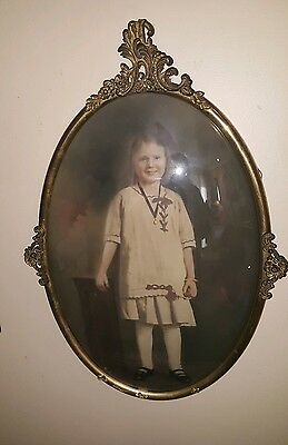 Antique Oval Metal/ Brass - Victorian Bubble Convex Glass Frame Adorable c.1910