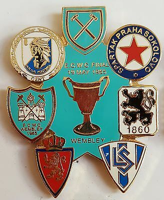 West Ham Utd 1965 E.C.W. Cup Enamel Badge Road to Wembley Free Post (light blue)