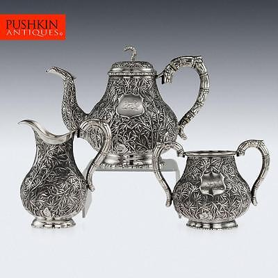 ANTIQUE 19thC CHINESE EXPORT SOLID SILVER TEA SET, HOACHING, CANTON c.1860