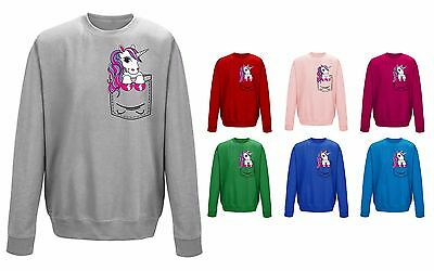Kids Childrens Pocket Unicorn Pony Mini Pet Cute Funny Sweater Sweatshirt Jumper