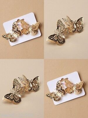 4x GILT METALL 8cm FILIGRAN BUTTERFLY HAARSPANGE CLIPS : SP-6288 4ER PACKUNG