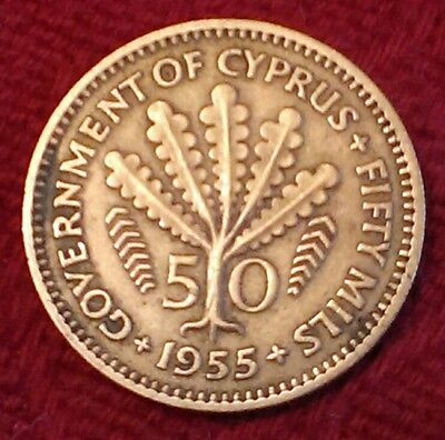 1955 Government of Cyprus 50 fifty mils coin Queen Elizabeth the Second