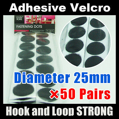 25mm×50P (Black/White) Fastener Strong Sticky Back Self Adhesive Dots hook loop