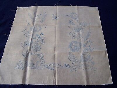 Vintage Linen Cushion Cover Front To Embroider Dormouse Poppies + Colour Picture