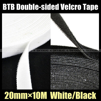20mm × 10M (B/W) Double-sided BTB Hook & Loop Tape Cable Ties Wrap Strap Ties
