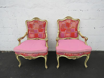 Pair of French Carved Living / Bed  Room Side by Side Chairs 8496