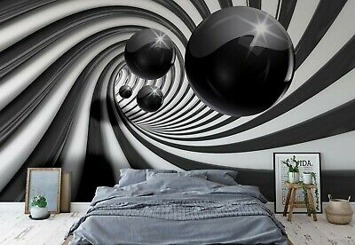 Wallpaper mural for bedroom Giant photo wall Black tunnel & sphere abstract roll