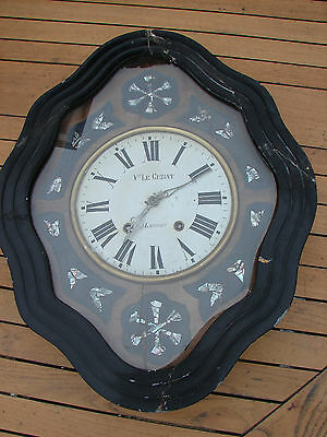 Le Cuziat Lannion French Art Deco Pendulum Wall Clock Mother of Pearl Antique