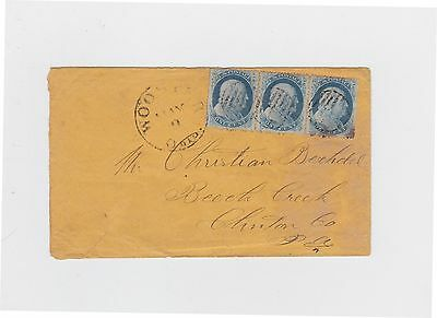 Wooster Ohio cover to Beech Creek PA 1c #24 strip of 3