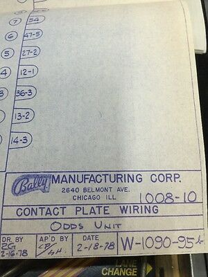 Bally Manufacturing Contact Plate Wiring Odds Unit   #1008 -10 Schematic