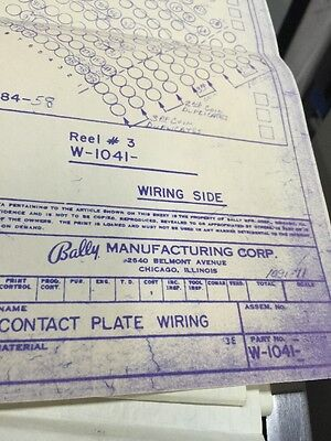 Bally Manufacturing Contact Plate Wiring   #1090-11 Schematic