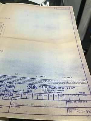 Bally Manufacturing Contact Plate Wiring  #1041 Schematic
