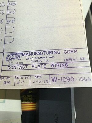 Bally Manufacturing Contact Plate Wiring #1090-33 Schematic